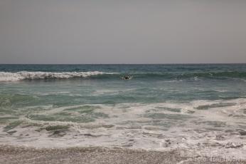 versuch des surfens bei Monsterwellen