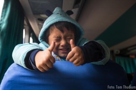 kleiner Mann im Bus nach Cerro de Pasco